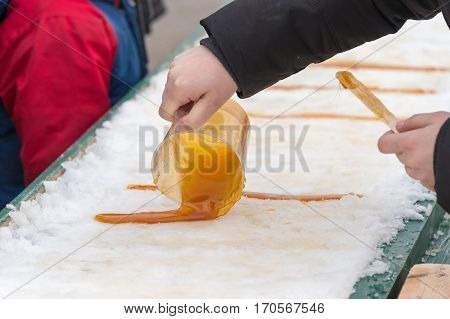 Maple Taffy On Snow At The Sugar Shack, In Montreal, Canada (2017)