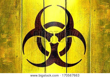 Vintage Biohazard sign on a grunge wooden panel
