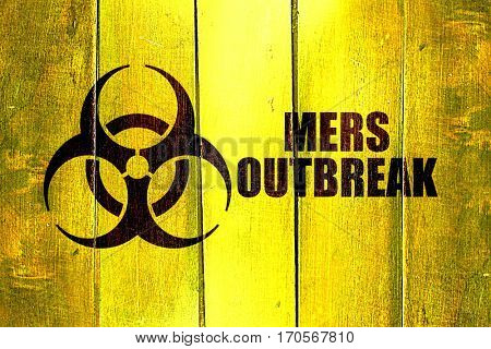 Vintage Mers outbreak on a grunge wooden panel