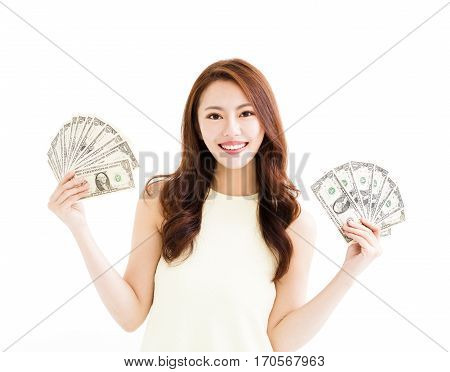 happy young woman showing the money isolated