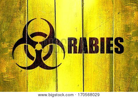 Vintage Rabies on a grunge wooden panel