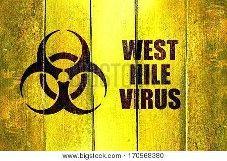 Vintage West nile virus on a grunge wooden panel