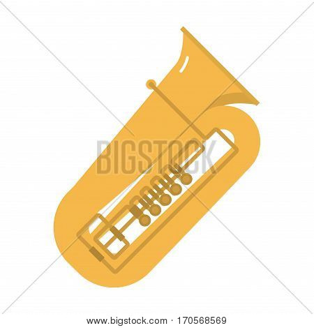 French trombone tuba trumpet classical sound vector illustration. Wind jazz pipe horn band concert gold metal brass instrument. Symphony mouthpiece object.