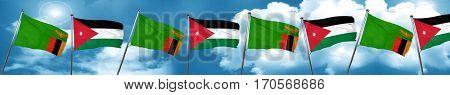 Zambia flag with Jordan flag, 3D rendering