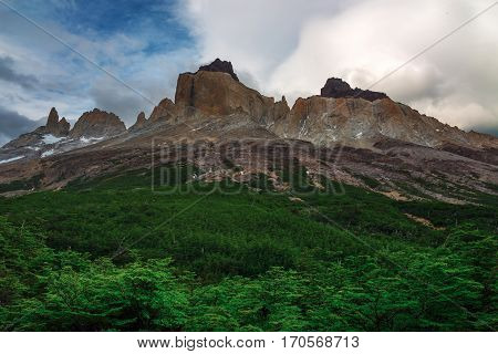 Patagonia is a mountainous area that spans Chile and Argentina