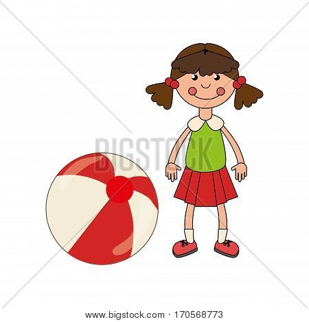 colorful doll with ball toy vector illustration