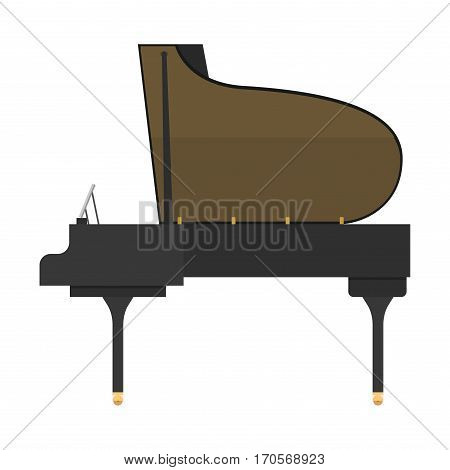 Black grand piano isolated on white background. Classical white black musical keyboard sound instrument. Vector grand melody key clipping instrumental sign.