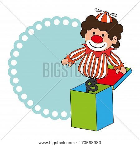 colorful border wit clown in cube toy vector illustration