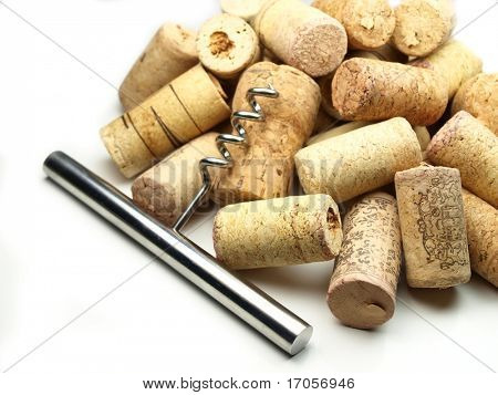 Collection of vine corks with cork screw