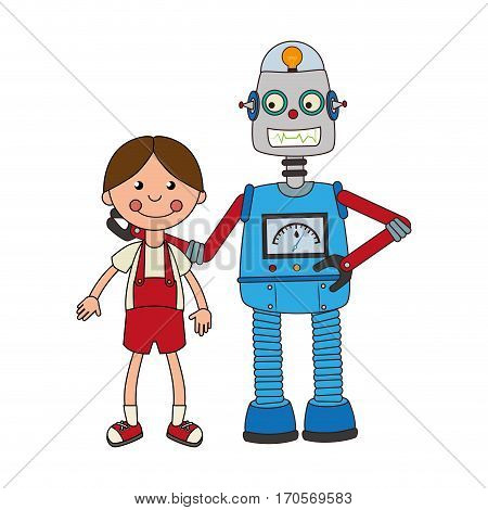 colorful set robot with doll toy vector illustration