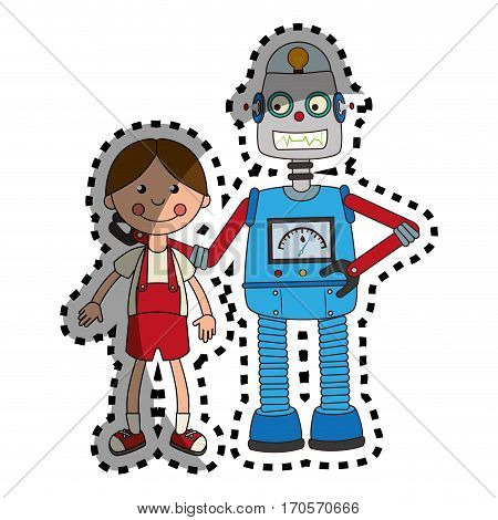 sticker colorful set robot with doll toy vector illustration
