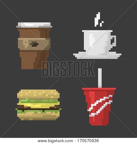 Set of pixel icons vintage hot sign. Fast food computer design symbol retro game web graphic. Vector illustration restaurant pixelated element.