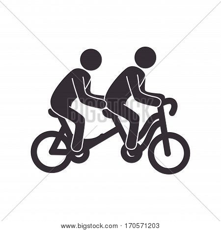 set with bicycle tandem and people pictograms vector illustration