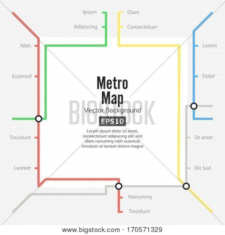 Metro Map Vector. Rapid Transit Illustration. Colorful Background With Stations.