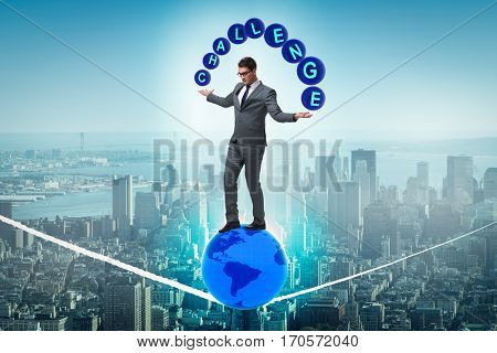 Businessman walking tight rop in challenge concept