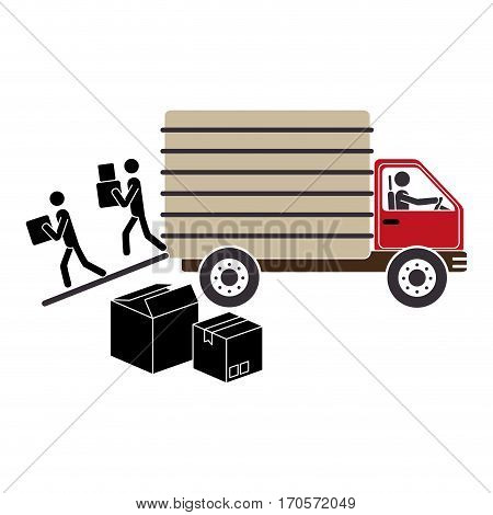 transport truck with vagon and pictograms download boxes vector illustration