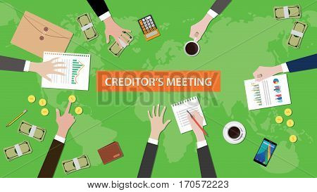 creditor meeting in one table illustration with paperworks and littered money on top of table vector