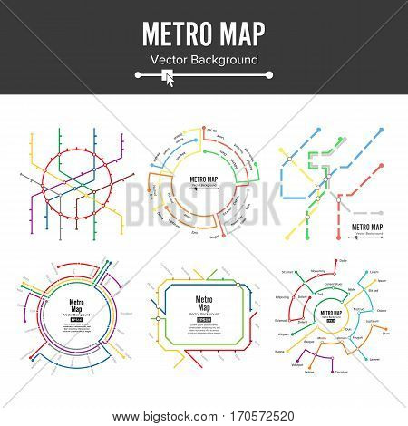 Metro Map Vector. Plan Map Station Metro And Underground Railway Metro Scheme Illustration. Colorful Background With Stations.