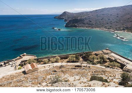 View at Aegean sea from of Spinalonga island. Spinalonga used to be Leper colony, now it is a well known tourist destination. Crete, Greece