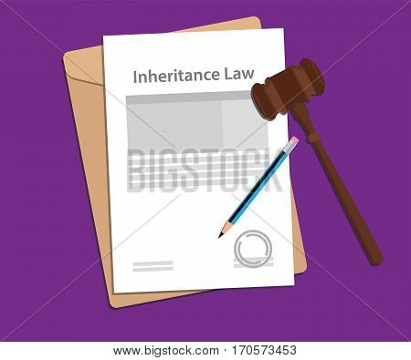 inheritance law concept illustration with paperworks, pen and a judge hammer vector
