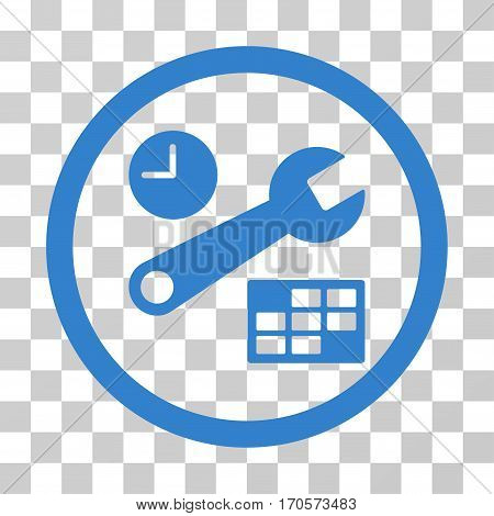 Date And Time Setup rounded icon. Vector illustration style is a flat iconic symbol inside a circle cobalt color transparent background. Designed for web and software interfaces.