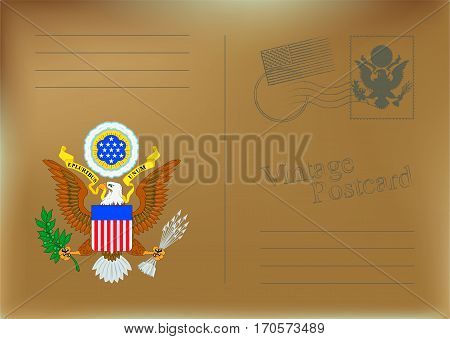 USA Vector Postcard. Old vintage grunge back. Template design for your cards.