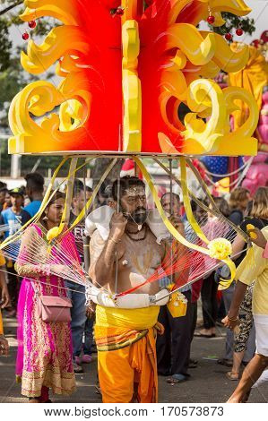 Georgetown Penang Malaysia - February 9 2017 : Hindu devotee taking part in the Thaipusam festival on February 9 2017 in Malaysia. Hindu festival to worship God Muruga.