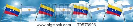 Venezuela flag with Argentine flag, 3D rendering