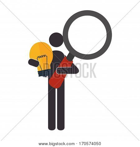 pictogram with light bulb and loupe vector illustration