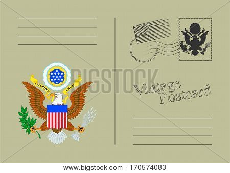 USA Vector Postcard. Old vintage back. Template design for your cards.