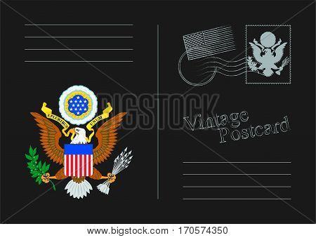 USA Vector black postcard. Old vintage back. Template design for your cards.