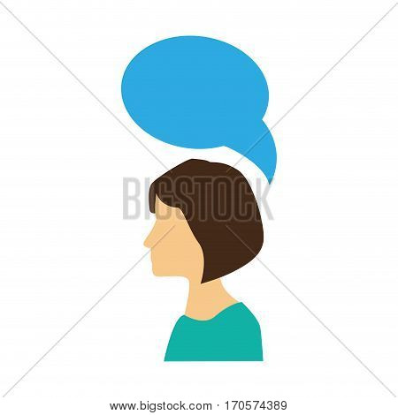 colorful silhouette profile woman with dialogue callout vector illustration