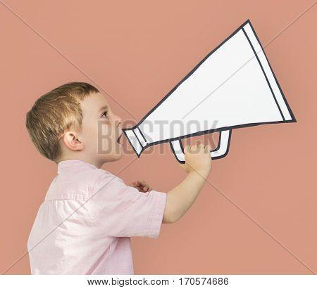 Caucasian Little Boy Holding Papercraft Megaphone