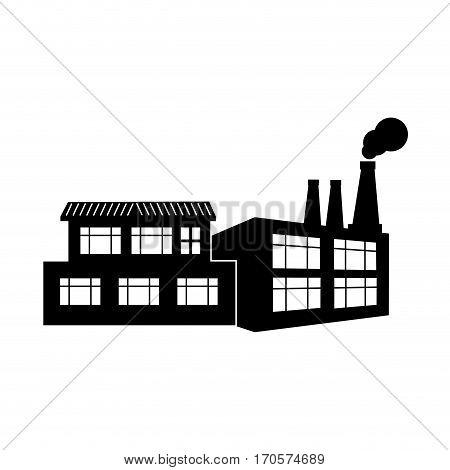 silhouette factory smoke contamination icon vector illustration