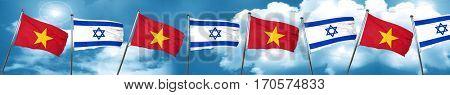Vietnam flag with Israel flag, 3D rendering