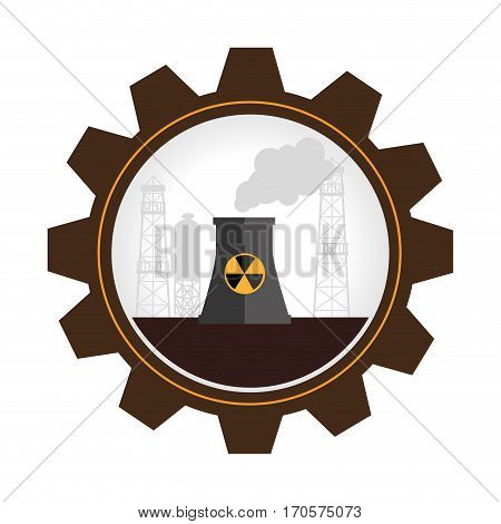 gear wheel shape border with factory radioactive material vector illustration