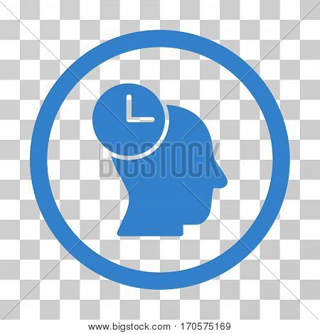 Time Thinking rounded icon. Vector illustration style is a flat iconic symbol inside a circle cobalt color transparent background. Designed for web and software interfaces.