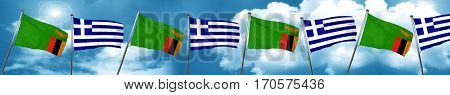 Zambia flag with Greece flag, 3D rendering