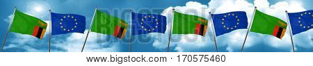 Zambia flag with european union flag, 3D rendering