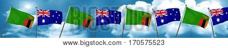 Zambia flag with Australia flag, 3D rendering