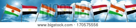 niger flag with egypt flag, 3D rendering