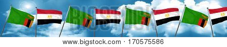 Zambia flag with egypt flag, 3D rendering