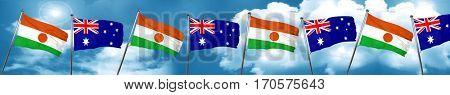 niger flag with Australia flag, 3D rendering
