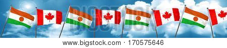 niger flag with Canada flag, 3D rendering