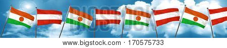 niger flag with Austria flag, 3D rendering