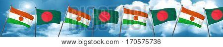 niger flag with Bangladesh flag, 3D rendering
