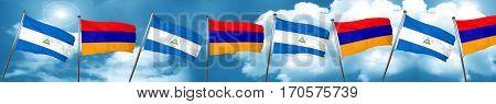 nicaragua flag with Armenia flag, 3D rendering