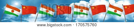 niger flag with China flag, 3D rendering
