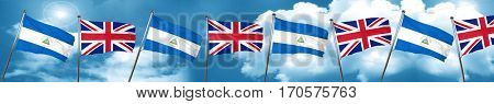 nicaragua flag with Great Britain flag, 3D rendering
