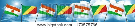 niger flag with congo flag, 3D rendering
